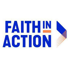 Blue and yellow faith in action logo